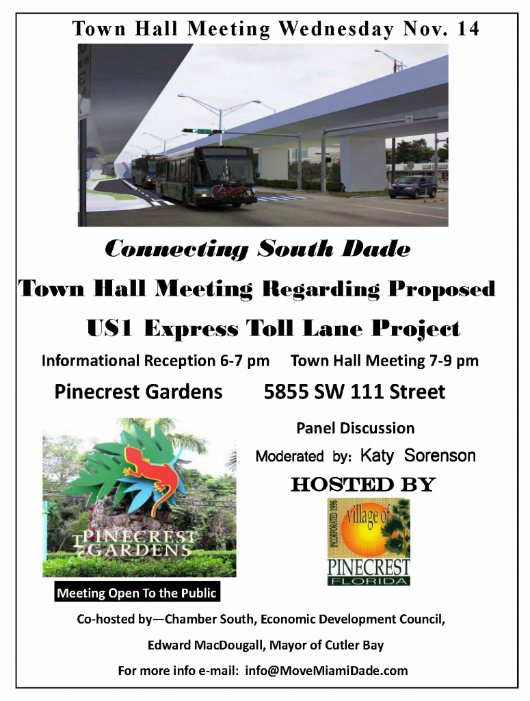 Public meeting about proposed Express Toll Lanes on South Dade Busway